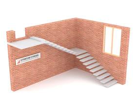 Г-образная бетонная лестница с площадкой консольная