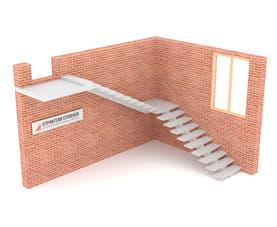 Г-образная бетонная лестница с площадкой на центральном косоуре