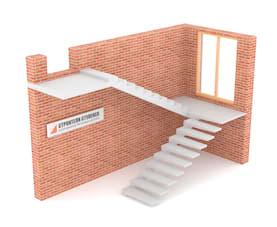 П-образная бетонная лестница с площадкой на внутреннем косоуре