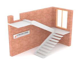 П-образная бетонная лестница с площадкой на внутренней тетиве
