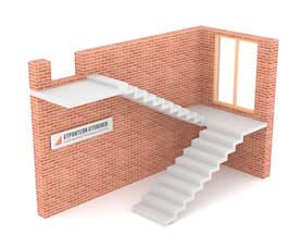 П-образная бетонная лестница с площадкой зеркальная