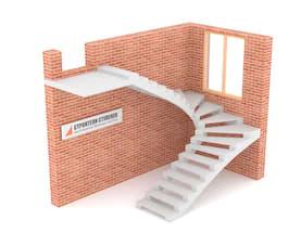 П-образная бетонная лестница c забежными ступенями на двух косоурах