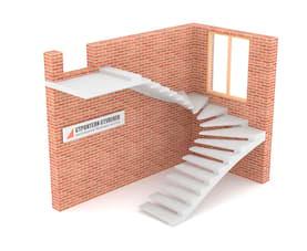 П-образная бетонная лестница c забежными ступенями на внешнем косоуре