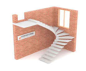 П-образная бетонная лестница c забежными ступенями на внутреннем косоуре