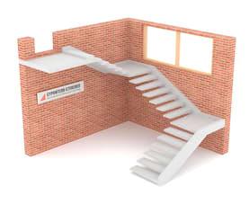Трехмаршевая бетонная лестница  на внешней тетиве
