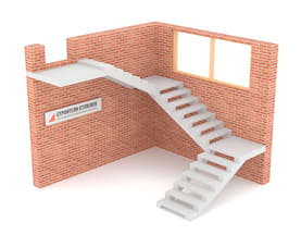 Трехмаршевая бетонная лестница  на двух косоурах