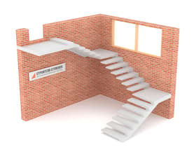 Трехмаршевая бетонная лестница  на внешнем косоуре