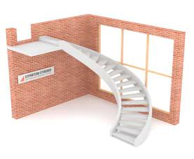 Полувинтовая бетонная лестница  двутетивная с просветом