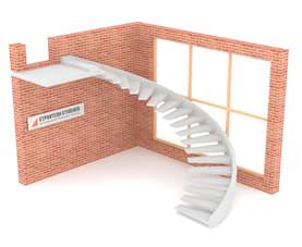 Полувинтовая бетонная лестница  на внешней тетиве