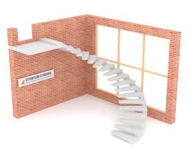 Полувинтовая бетонная лестница  на внешнем косоуре