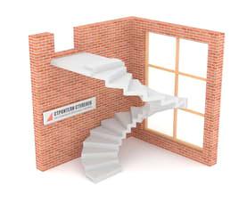 Винтовая бетонная лестница  зеркальная