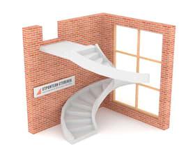 Винтовая бетонная лестница на двух тетивах