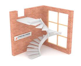 Винтовая бетонная лестница на внутренней тетиве