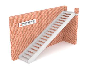 Одномаршевая бетонная лестница  двутетивная с просветом