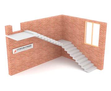 Г-образная бетонная лестница с площадкой зеркальная