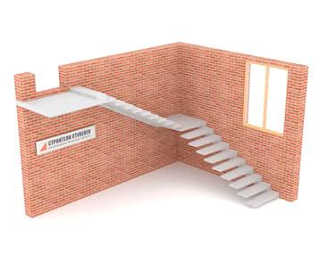 Г-образная бетонная лестница с площадкой на внешнем косоуре