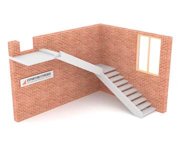 Г-образная бетонная лестница с площадкой на внутренней тетиве