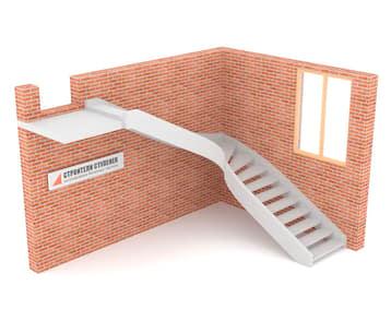 Г-образная бетонная лестница c забежными ступенями двутетивная с просветом