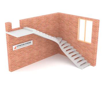 Г-образная бетонная лестница c забежными ступенями на двух косоурах