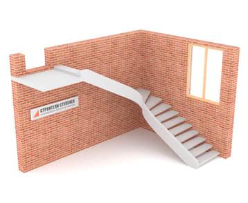 Г-образная бетонная лестница c забежными ступенями на внутренней тетиве