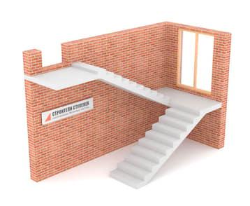 П-образная бетонная лестница с площадкой классическая