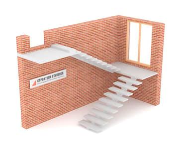 П-образная бетонная лестница с площадкой на центральном косоуре