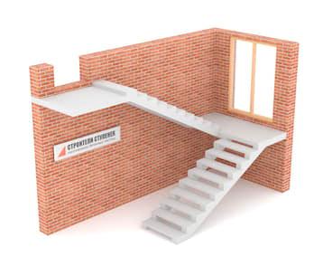 П-образная бетонная лестница с площадкой на двух косоурах