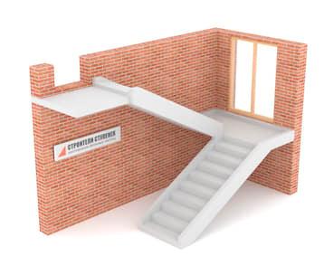 П-образная бетонная лестница с площадкой на двух тетивах