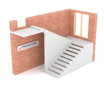 П-образная бетонная лестница с площадкой эксклюзив #2