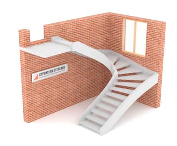 П-образная бетонная лестница c забежными ступенями двутетивная с просветом