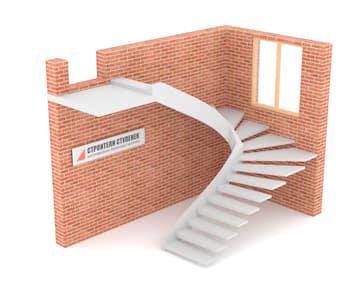 П-образная бетонная лестница c забежными ступенями на внутренней тетиве