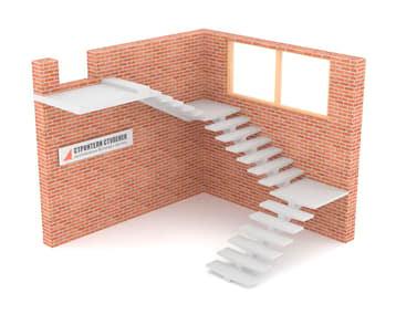 Трехмаршевая бетонная лестница  на центральном косоуре