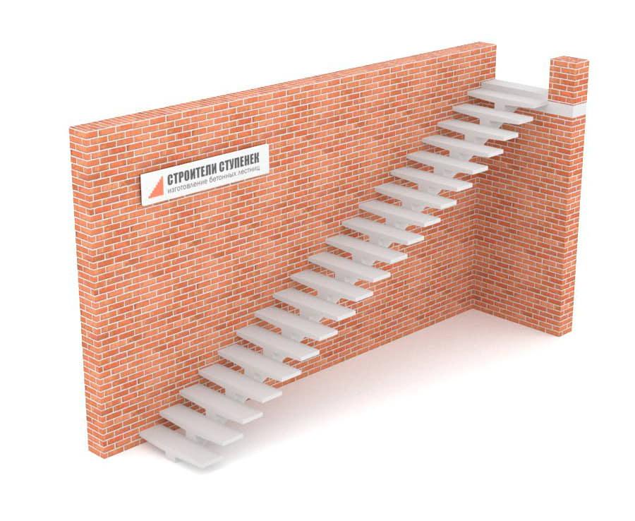 Одномаршевая бетонная лестница  на центральном косоуре