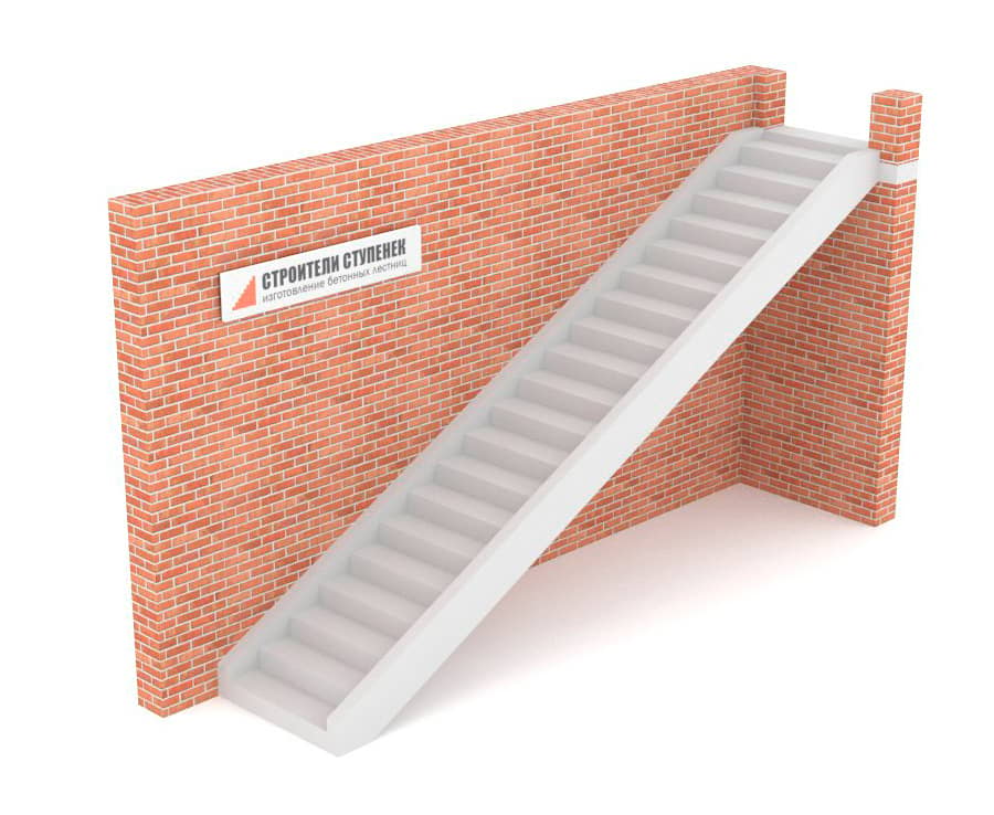 Одномаршевая бетонная лестница на двух тетивах