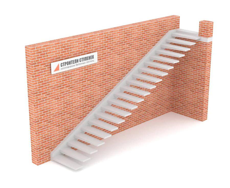 Одномаршевая бетонная лестница  на одной тетиве