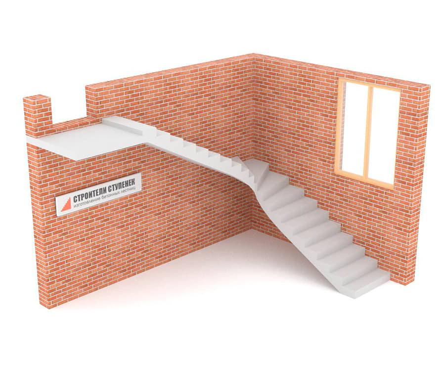 Г-образная бетонная лестница c забежными ступенями
