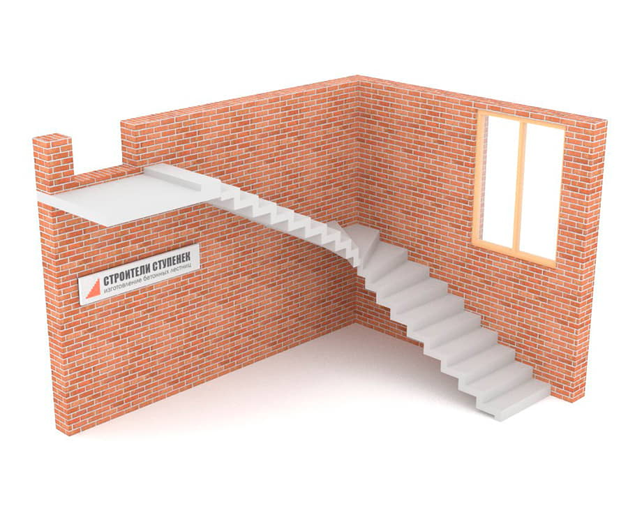 Г-образная бетонная лестница c забежными ступенями зеркальная