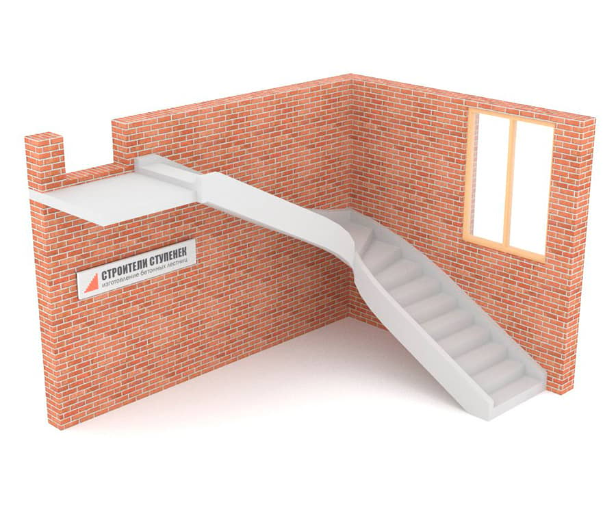 Г-образная бетонная лестница c забежными ступенями на двух тетивах