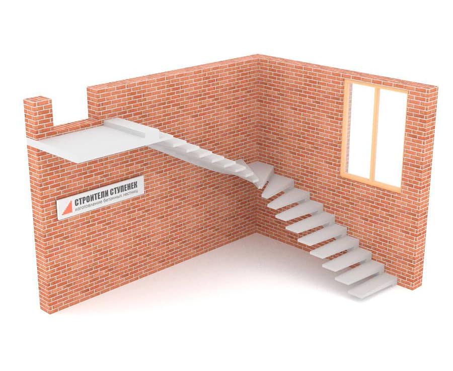 Г-образная бетонная лестница c забежными ступенями на внешнем косоуре