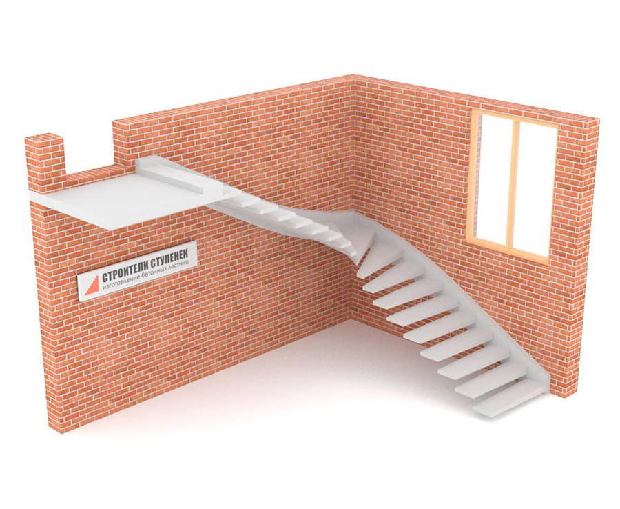 Г-образная бетонная лестница c забежными ступенями на внешней тетиве