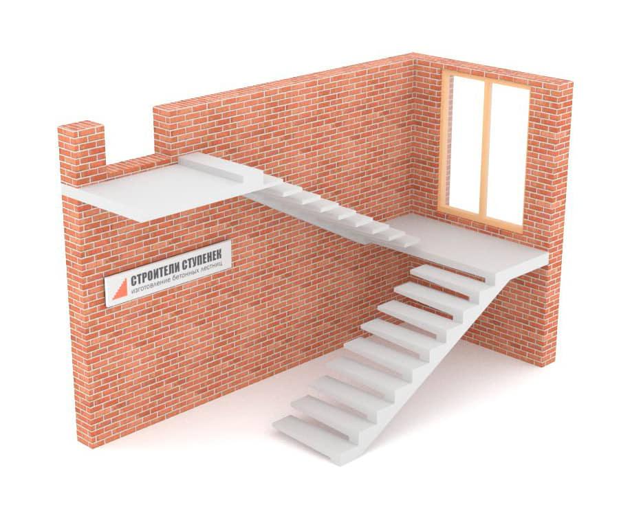 П-образная бетонная лестница с площадкой на внешнем косоуре