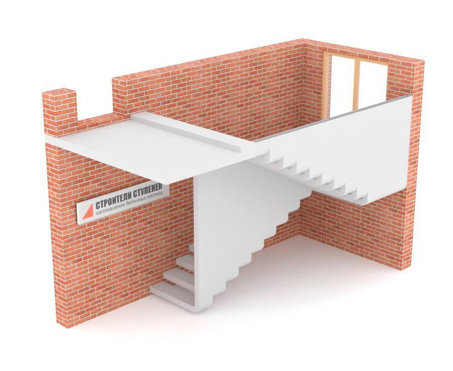П-образная бетонная лестница с площадкой эксклюзив #1