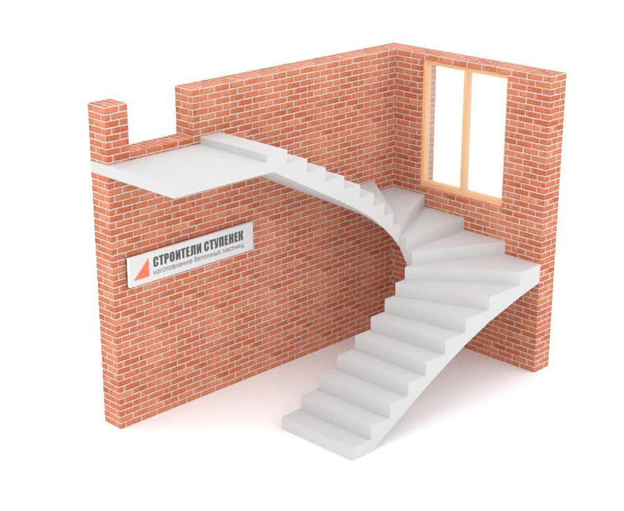 П-образная бетонная лестница c забежными ступенями