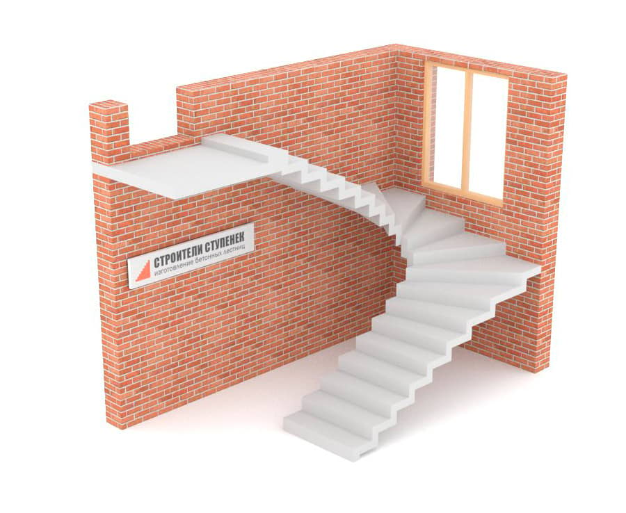 П-образная бетонная лестница c забежными ступенями зеркальная