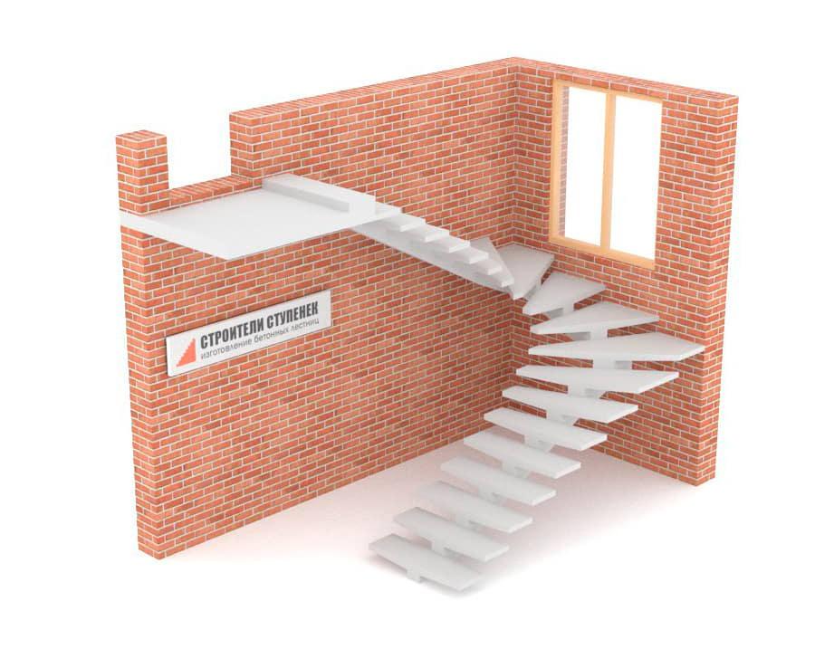 П-образная бетонная лестница c забежными ступенями на центральном косоуре