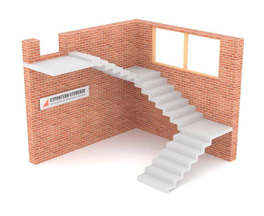 Трехмаршевая бетонная лестница зеркальная