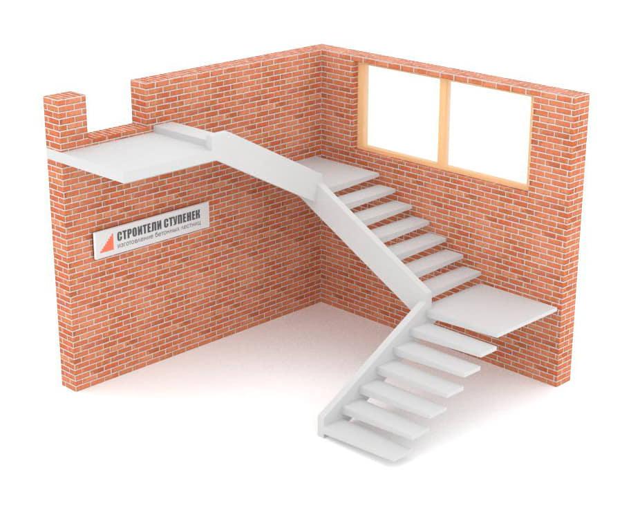 Трехмаршевая бетонная лестница  на внутренней тетиве