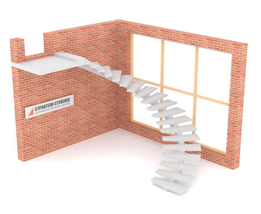 Полувинтовая бетонная лестница  на центральном косоуре