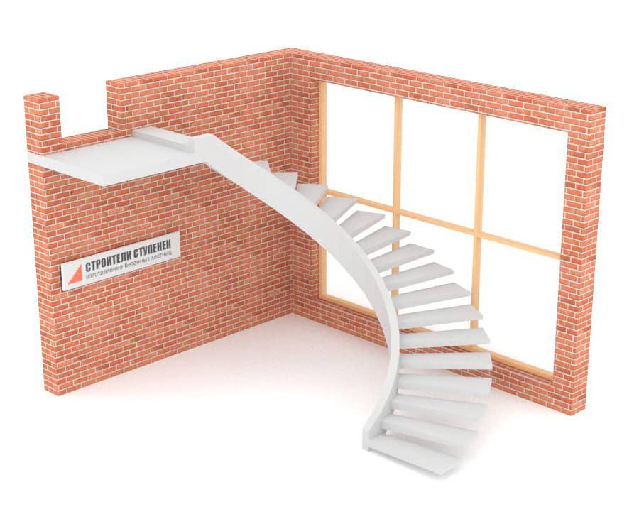 Полувинтовая бетонная лестница  на внутренней тетиве