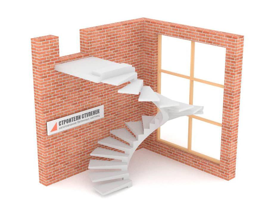 Винтовая бетонная лестница  на внутреннем косоуре